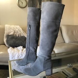 f03360eeb90 Clarks Shoes - Clark s OTK Tall Suede Grey Leather Heeled Boots